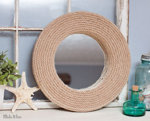 Simple DIY Nautical Rope Mirror Craft
