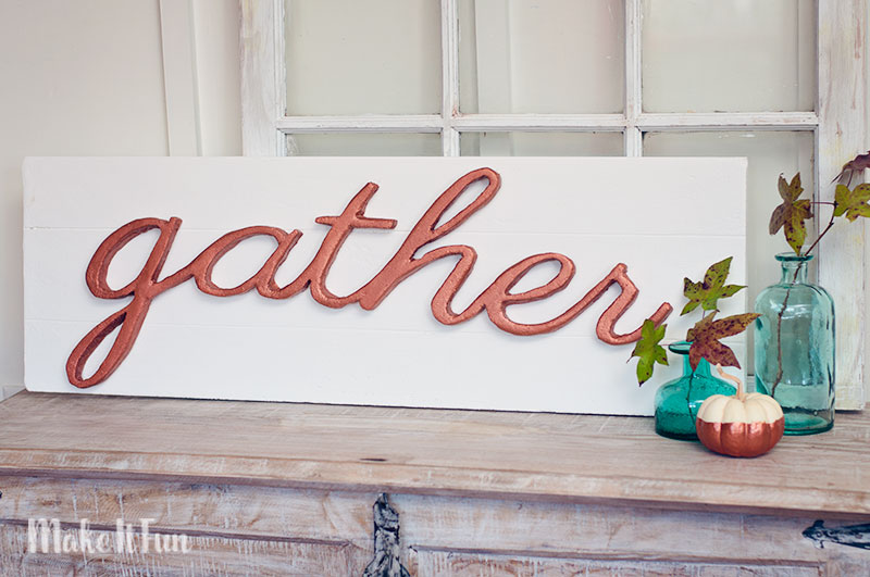 """DIY Faux Pallet """"Gather"""" Sign for Fall"""