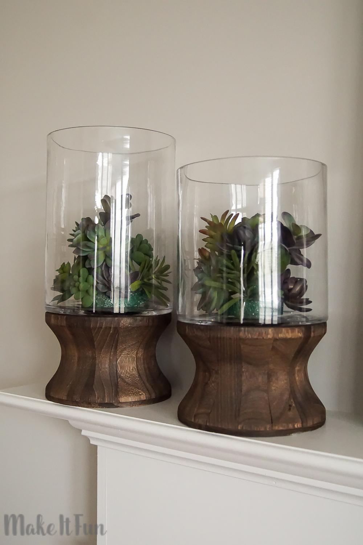 Hurricane Vase Succulent Arrangement