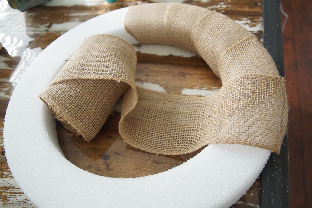 Burlap and Paper Flower Summer Wreath