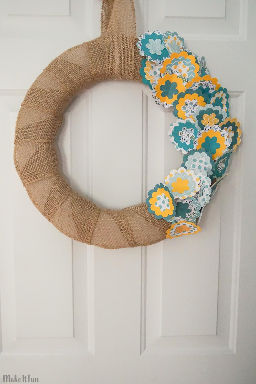 Burlap and Paper Flower Summer Wreath
