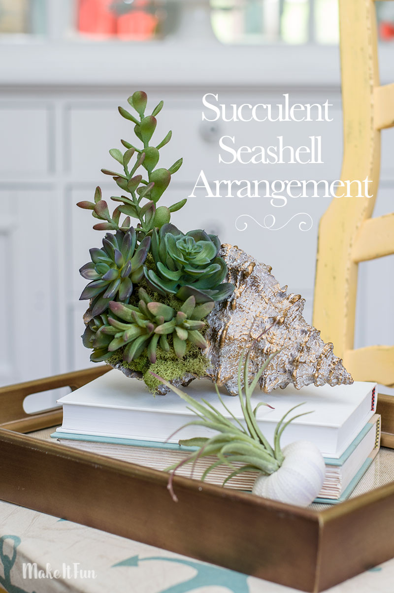10 Minute Seashell Succulent Arrangement