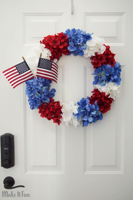 Patriotic Hydrangea Wreath